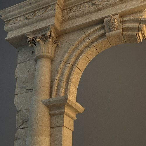old stone column arch 3d model max obj mtl 3ds 1