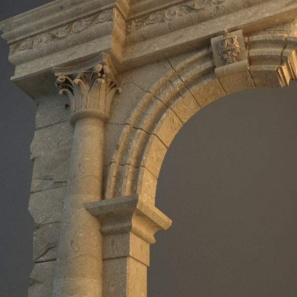 Stone Pillar Arch : Old stone column arch d model max obj ds cgtrader