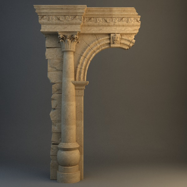 Old Stone Column Arch 3d Model Max Obj 3ds Cgtrader Com