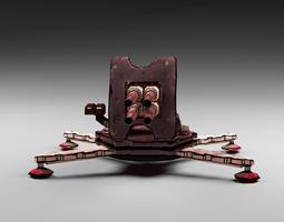 Cartoon 4-gun turret 3D model