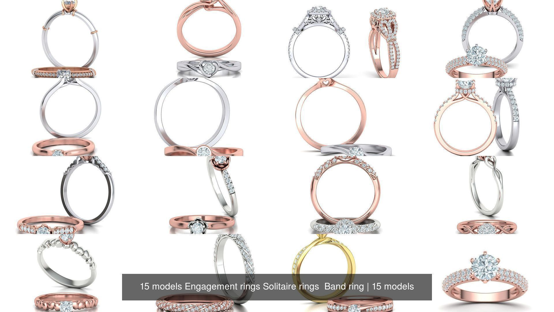 15 models Engagement rings Solitaire rings  Band ring