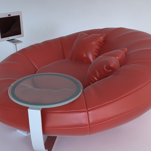 Red Leather Sofa With Throw Pillows : Red leather sofa with pillows 3D Model .max .obj .3ds .fbx - CGTrader.com
