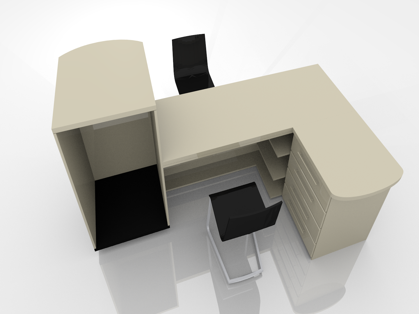 Office desk design 3d model 3ds for Office table 3d design