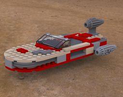 modular brick landspeeder obj 3d model