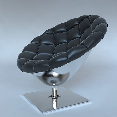 pod chair quilted leather upholstery 3d model max obj 3ds fbx mtl 1