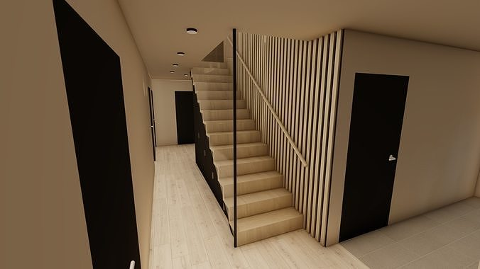 Stairs with and without glass wall