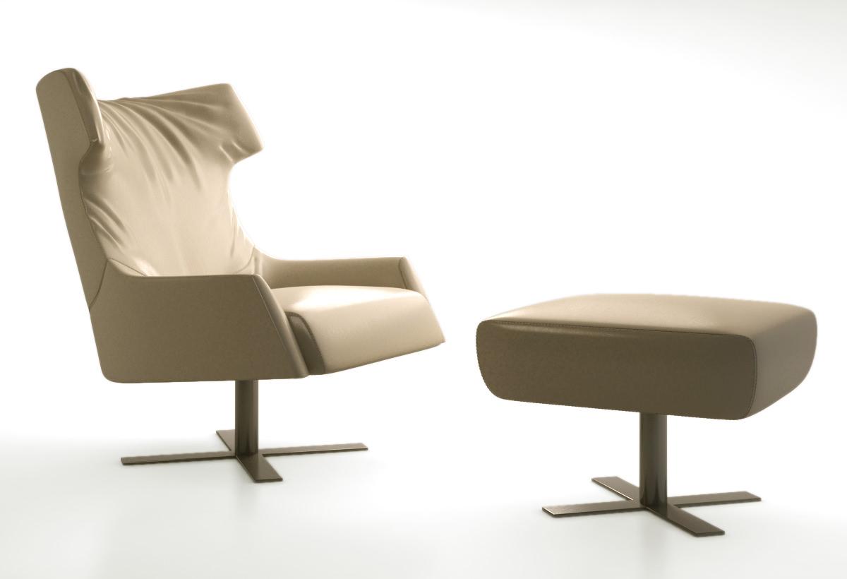 busnelli grace swivel armchair 3d model max obj 1