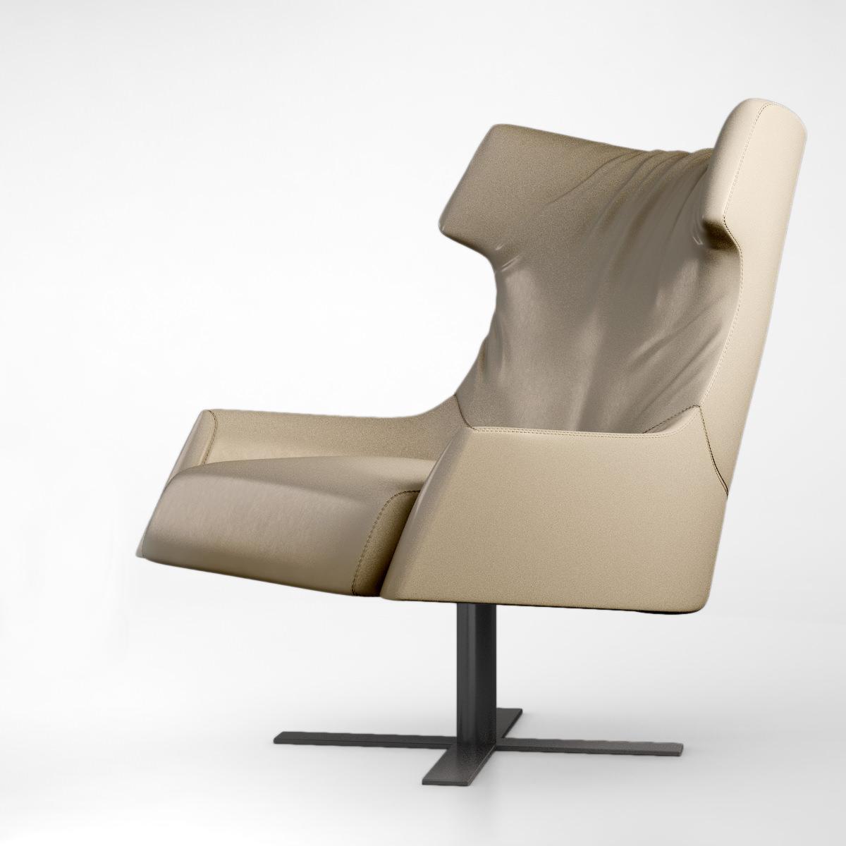 busnelli grace swivel armchair 3d model max obj 4