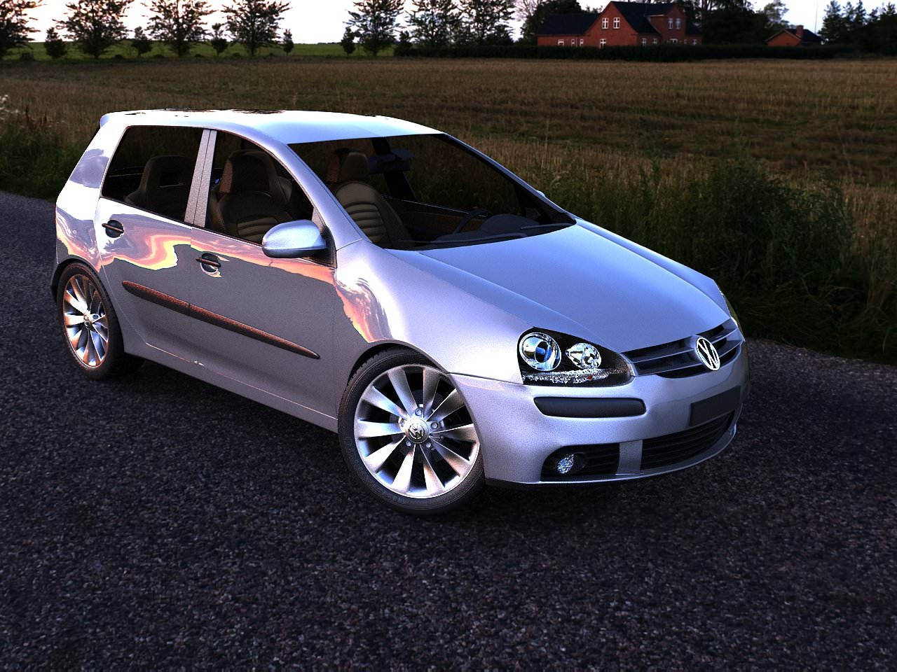 volkswagen golf 5 gt gti 3d model game ready max obj. Black Bedroom Furniture Sets. Home Design Ideas