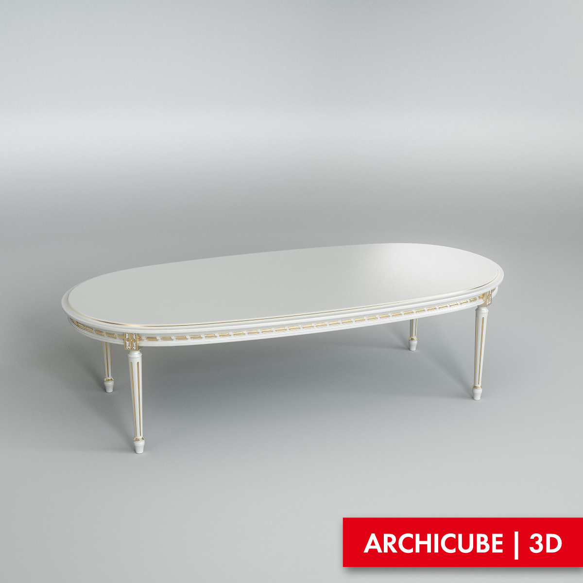 White dining table 002 3d model max obj fbx for Dining table latest model