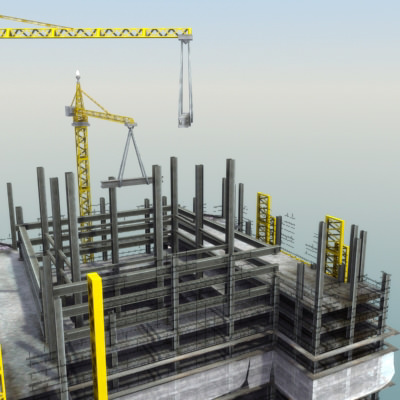 Building Construction Site 3d Model Game Ready Max Obj