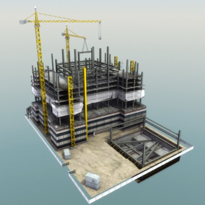 3d model building construction site vr ar low poly max