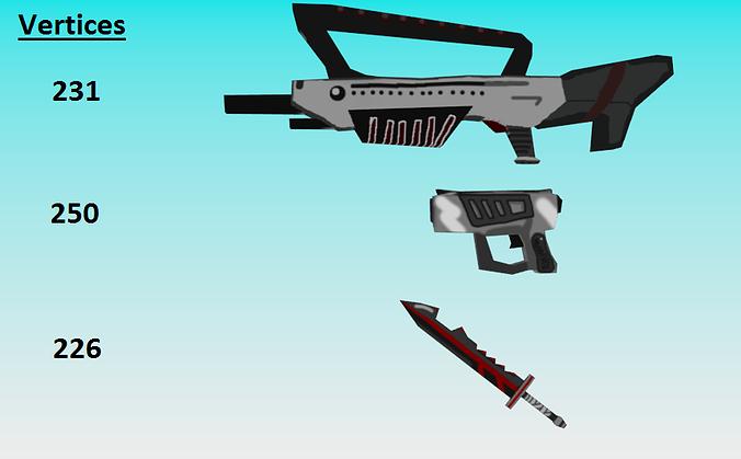 low poly fantasy weapon pack 3d model obj 3ds 1