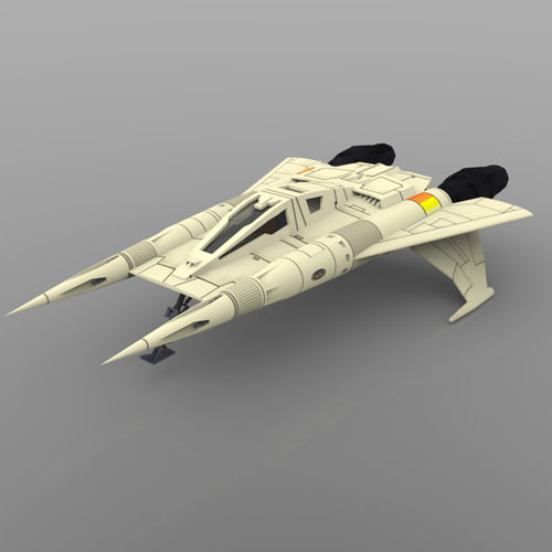 buck rogers starfighter 3d model obj 1