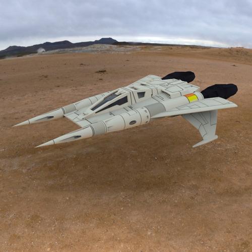 buck rogers starfighter 3d model obj 2