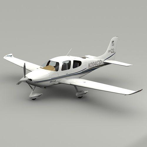 cirrus sr22 airplane 3d model 3ds lwo lw lws 1