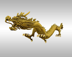 Chinese Gold Dragon 3D asset