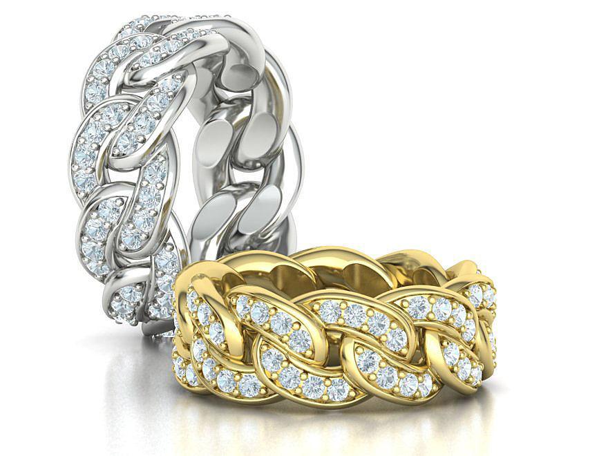 DIAMOND Cuban Link Heavy Chain Ring 9mm Wide 8US Size 3dmodel