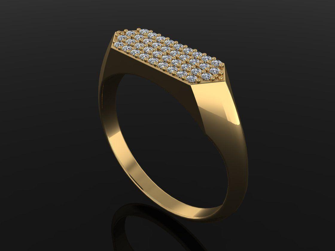 Narrow Bar Hexagon Diamond Cluster Band Signet Ring Mix Size