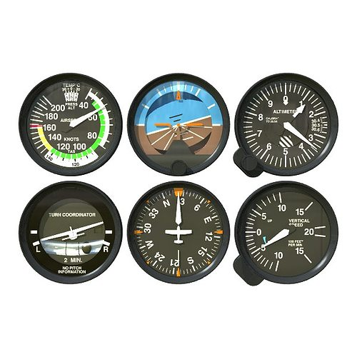 aviation instruments six pack 3d model obj mtl 3ds fbx lwo lw lws 1