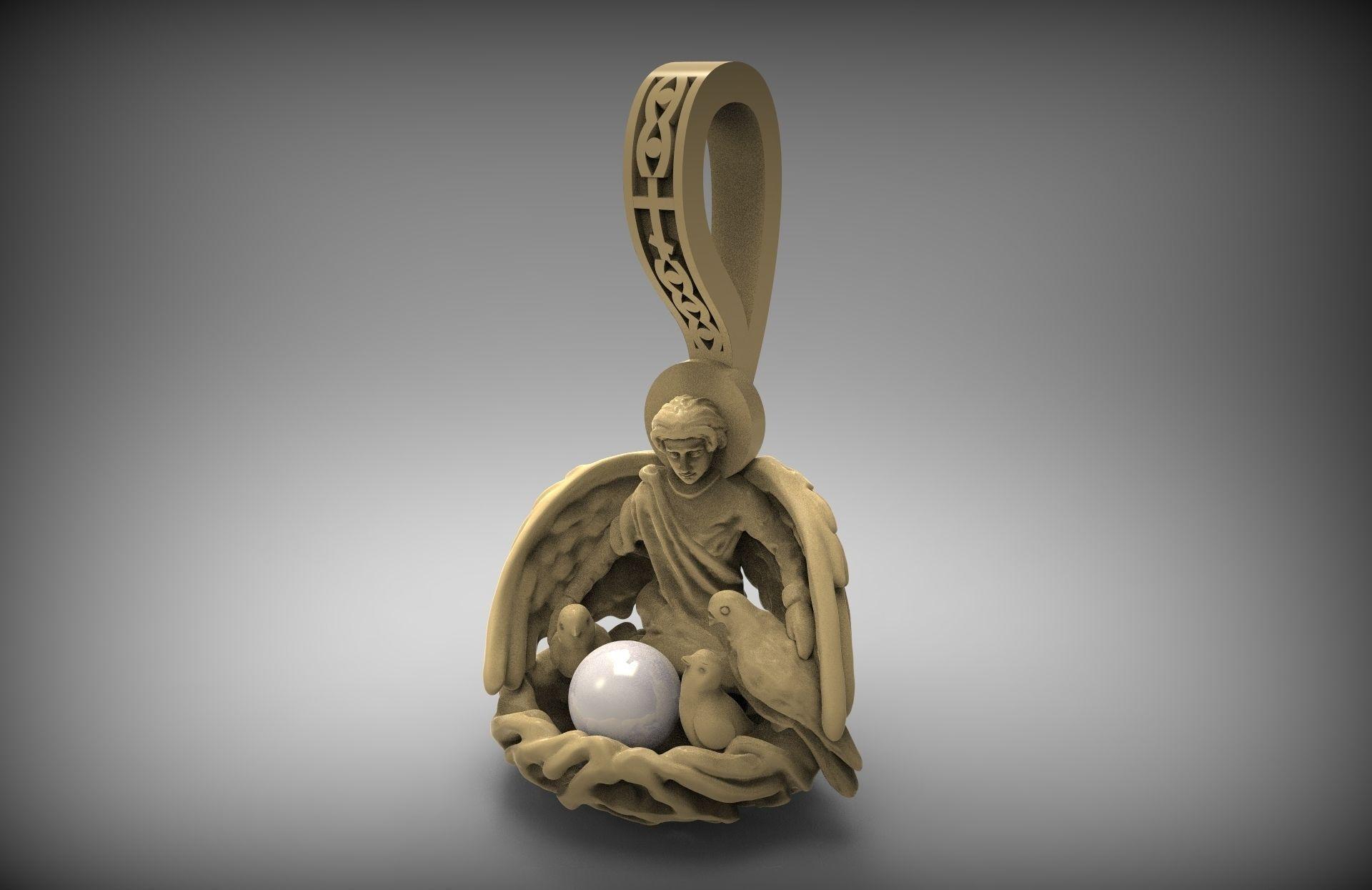 pendant with pearl 3d print model stl 3d model 3d