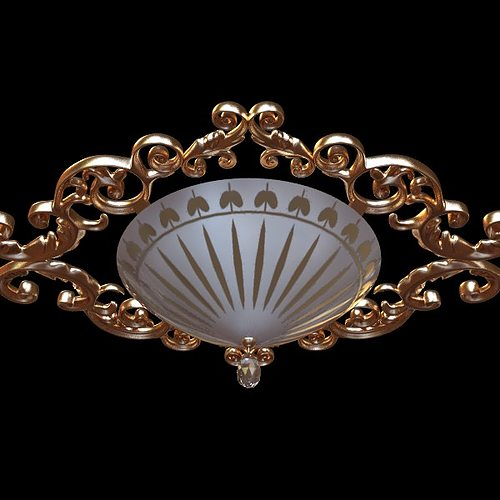 ornate ceiling light fixture 3d model max obj 3ds fbx 1