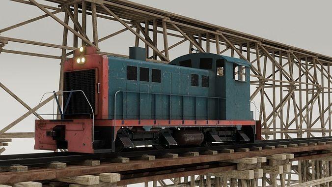 Railway Bridge 3D models complete of locomotive 3D
