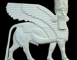 Assyrian bas relief sculpture centaur 3D Model