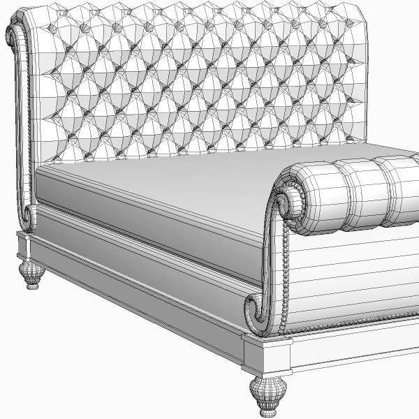 Sleigh bed detailed 3d model max 3ds fbx for 3ds max bed model