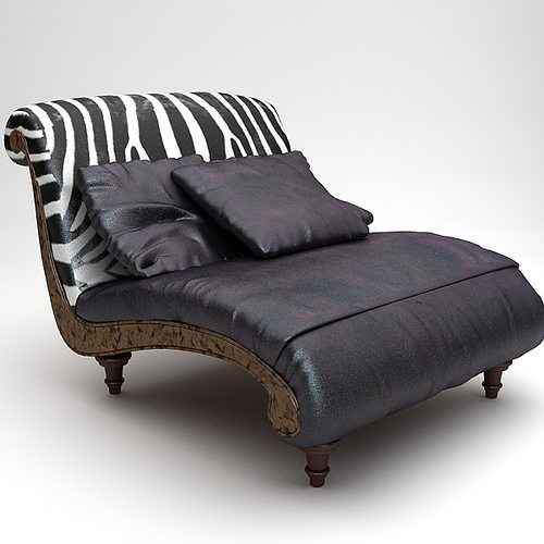 Zebra Settee Lounge Chair Sofa 3D
