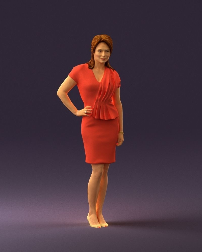 Woman in coral dress 0705