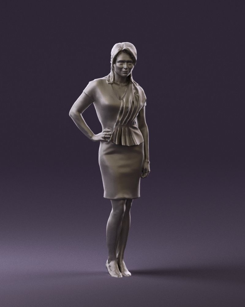Woman in coral dress 0705 3D Print Ready