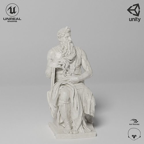 Moses Sculpture VR AR Mobile-ready Game-ready