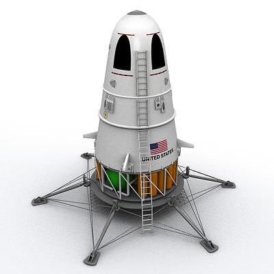 scifi nasa lander 3d model 3ds lwo lw lws 1