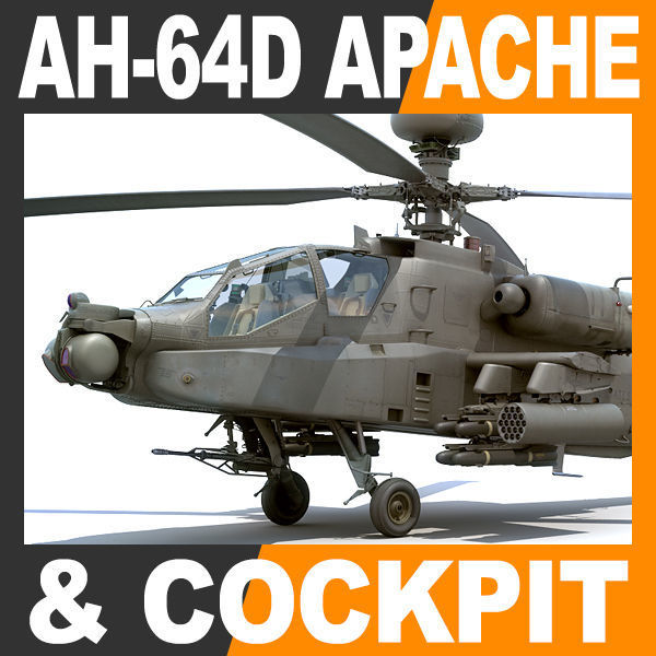 Boeing AH-64D Apache Longbow Attack Helicopter with Cockpit