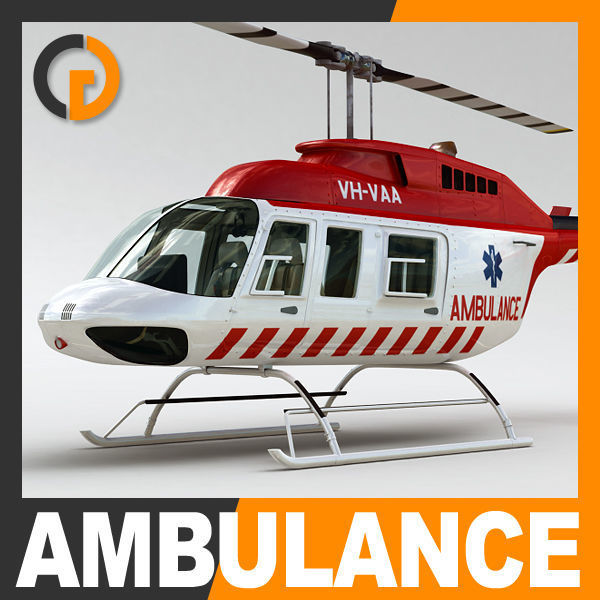 Helicopter Ambulance Bell 206L with Interior