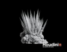 realtime animated houdini - shrapnel explosion 3d asset
