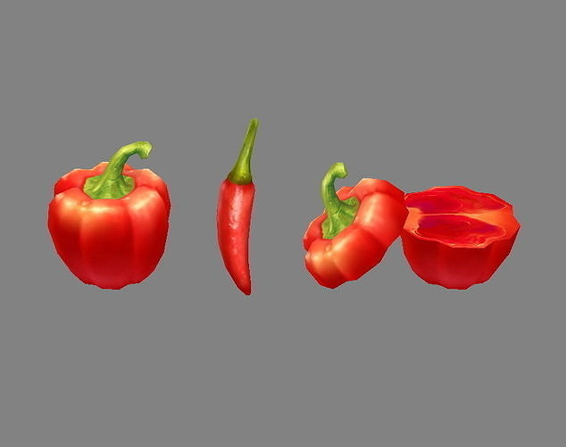 Cartoon Vegetable - Red chilli  and slice