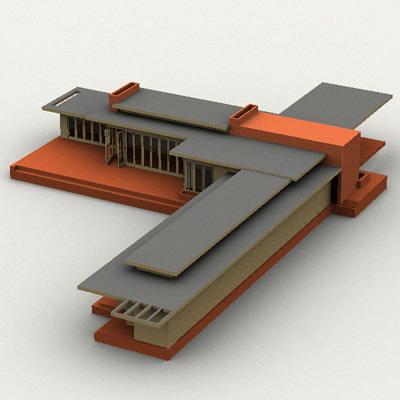 Usonian House 3d Model Lwo Lw Lws Cgtrader Com