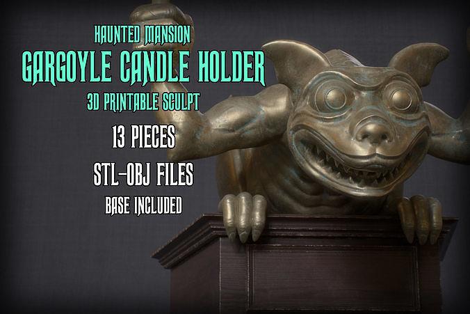 Haunted Mansion Gargoyle Candle Holder 3D printable sculpture