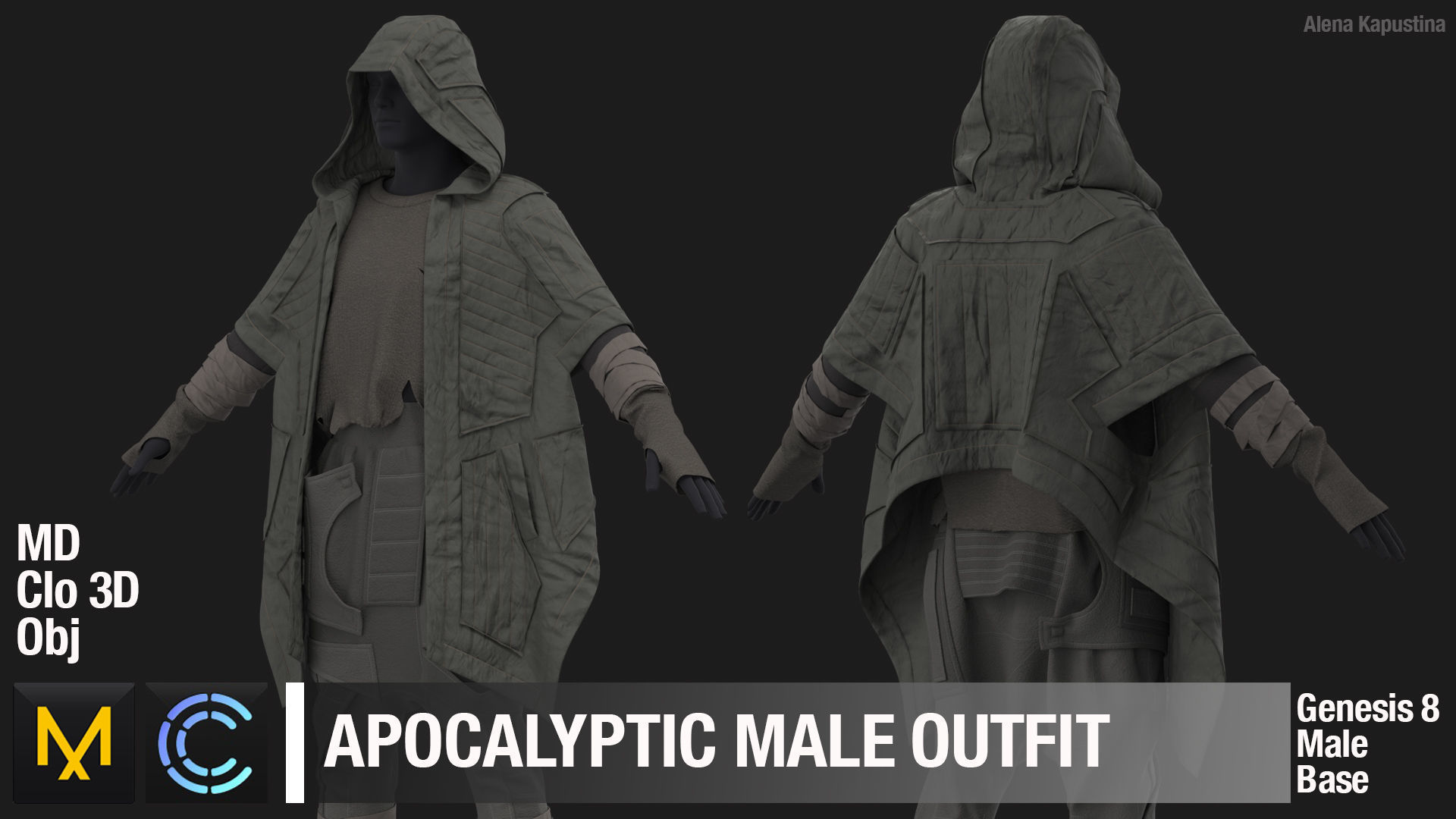 Apocalyptic male outfit  Marvelous Designer project