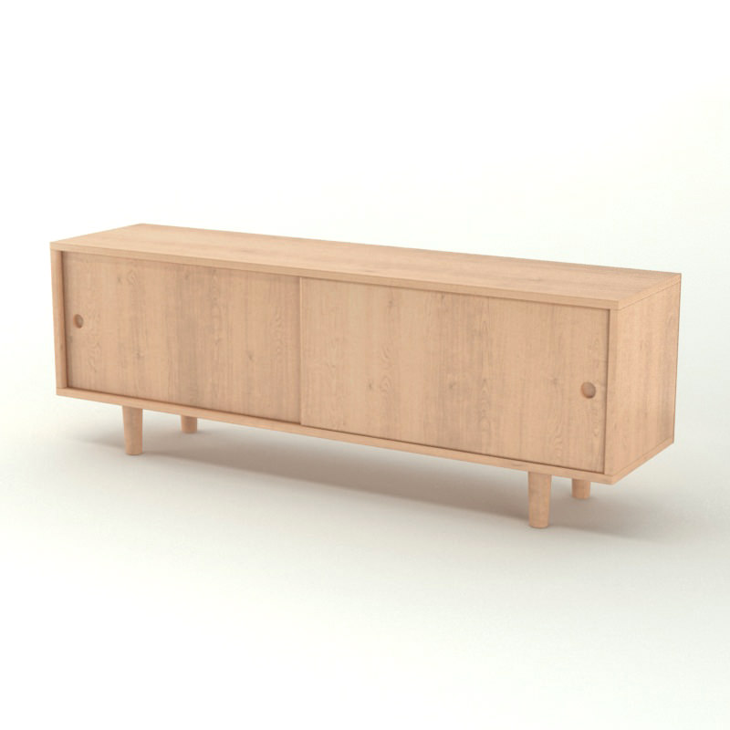 Contemporary wooden sideboard 3d model max obj for Sideboard 3d