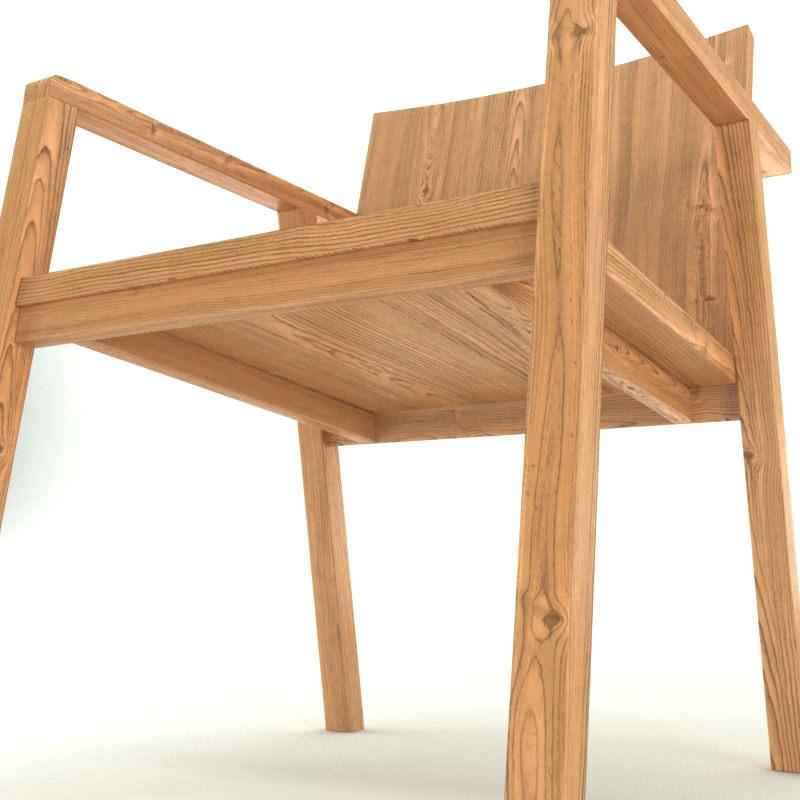 ... Contemporary Wooden Armchair 3d Model Max Obj Mtl 2 ...