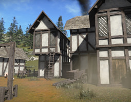 realtime free medieval buildings sample model 3d asset