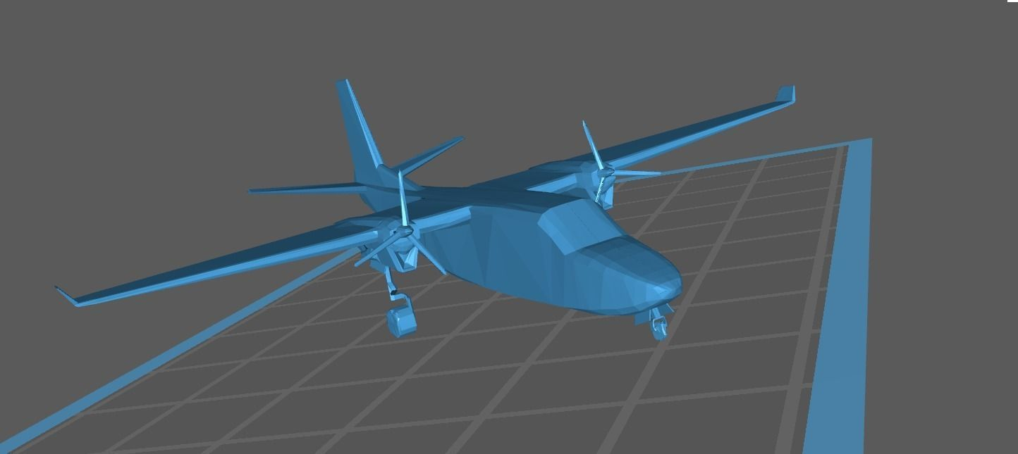 Airplane - Twin Commander AC 1000 695 A B  Low Poly