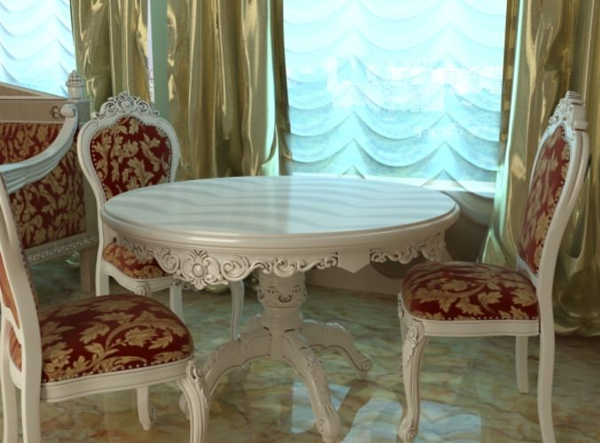 Baroque Style Table and Chairs3D model