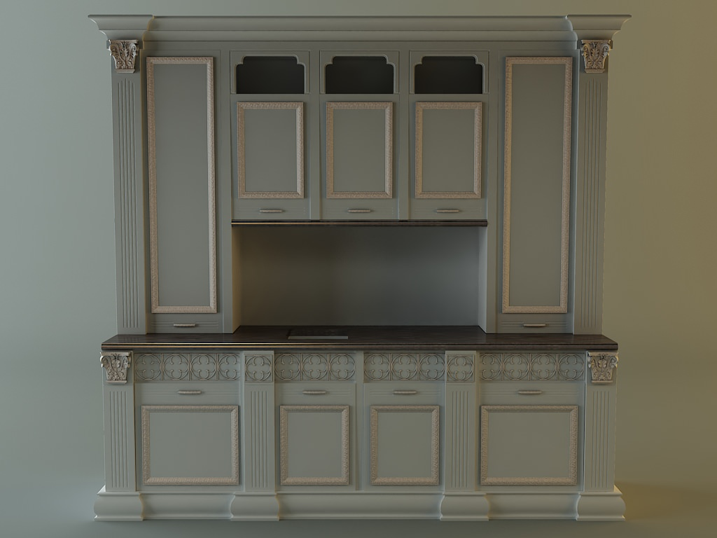 Kitchen cabinet 3d model max 3ds fbx for Kitchen cabinets models