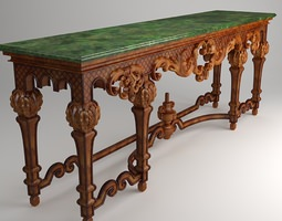 Ornate Classical Style Table 3D Model