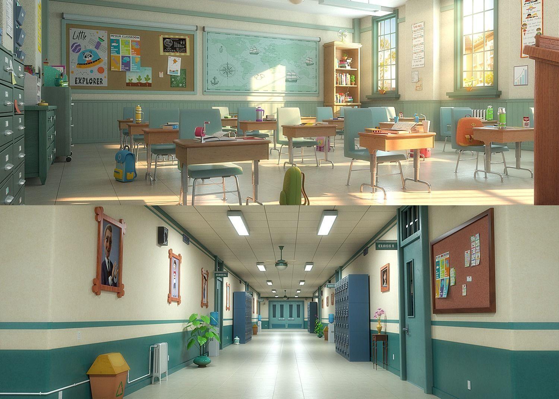 Cartoon Classroom Corridor