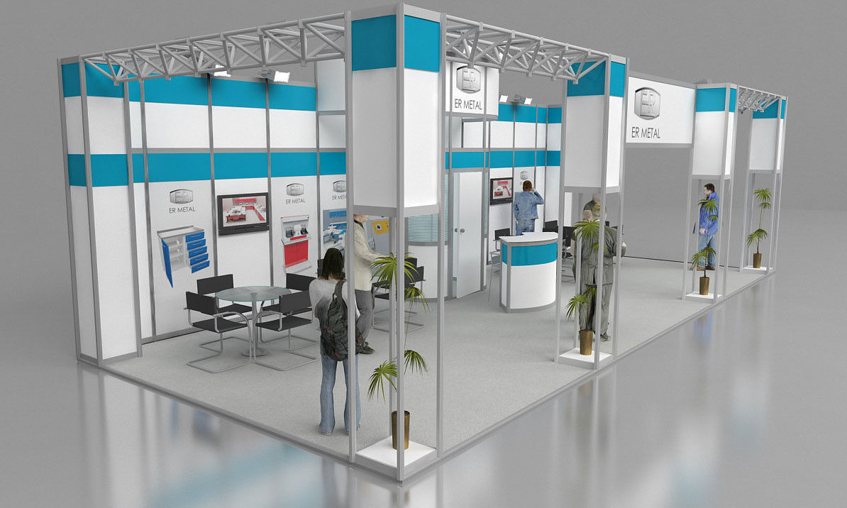 Exhibition Stand With Shelves : Er metal exhibition stand design d cgtrader
